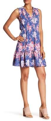 Nicole Miller Ruffle Trim Floral Print Dress