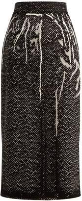 Prada Herringbone-print denim pencil skirt