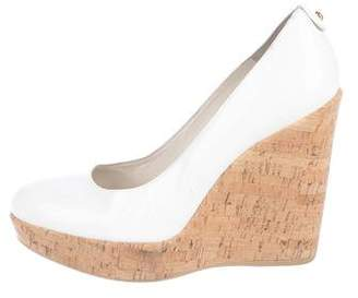 Stuart Weitzman Patent Leather Round-Toe Wedges