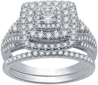 EVER STAR Ever Star Ever Star Womens 1 CT. T.W. Lab Grown White Diamond 10K White Gold Engagement Ring