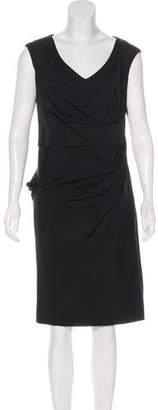 Lela Rose Ruched V-Neck Dress