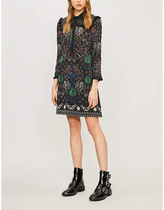 Sandro Ruffle-trimmed conversational-print chiffon dress
