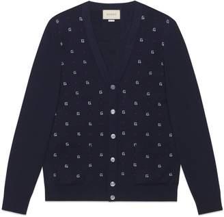 Gucci G dot wool jacquard cardigan