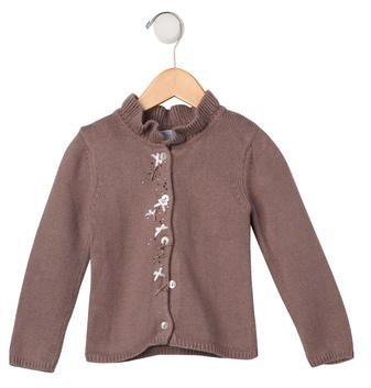 Tartine et Chocolat Girls' Embellished Rib Knit Cardigan