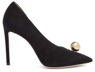 Jimmy Choo Sadira 100 Oyster Pearl Suede Pumps - Womens - Black