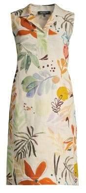 Lafayette 148 New York Women's Rudy Fir Print Linen Sleeveless Dress - Quarry Multi - Size 0