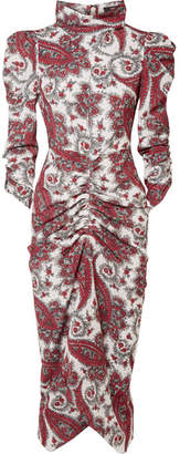 Isabel Marant Tizy Draped Printed Crepe De Chine Midi Dress - Red