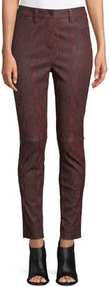 A.L.C. Turner Snake-Print Leather Skinny-Leg Pants