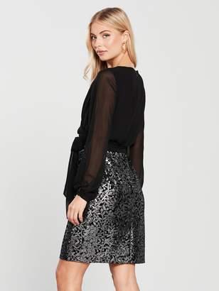 Phase Eight Janessa Sequin Skirt Dress - Black/Silver
