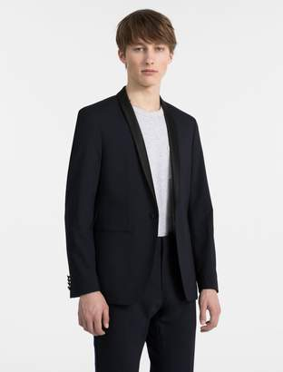 Calvin Klein satin shawl collar stretch blazer