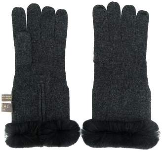 N.Peal cashmere fur trim gloves