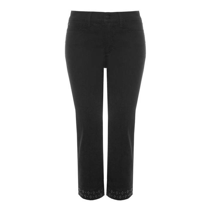 Black Ariel Crop Cotton Stretch Jeans