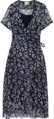 Cloe Cassandro - Kimi Ruffled Floral-print Silk-chiffon Wrap Dress - Navy $405 thestylecure.com