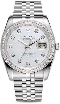 Pre-Owned Rolex 18K White Gold and Stainless Steel Datejust Diamond Watch with Mother-Of-Pearl Dial and Jubilee Band, 36mm