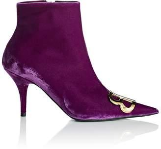 Balenciaga Women's Velour Ankle Booties