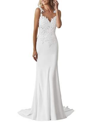 olise bridal Women's Long Mermaid Wedding Dresses Satin Lace Flattering Illusion Neckline Low Back Bridal Gowns
