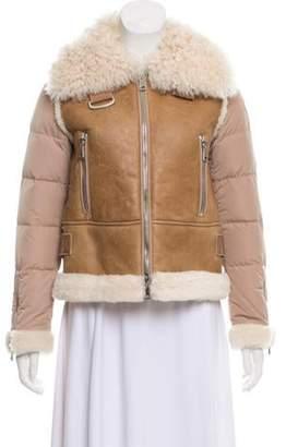 Moncler 2017 Kilia Mixed-Media Shearling Puffer Jacket silver 2017 Kilia Mixed-Media Shearling Puffer Jacket
