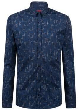 HUGO Boss Extra-slim-fit cotton shirt techno-inspired print L Dark Blue
