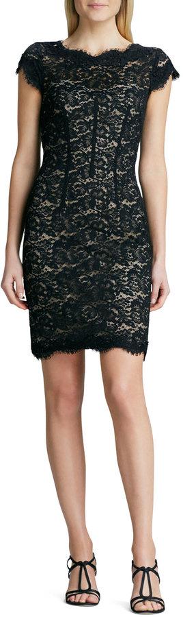 Monique Lhuillier Lace Sheath Cocktail Dress