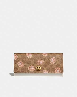 Coach Envelope Wallet In Signature Rose Print