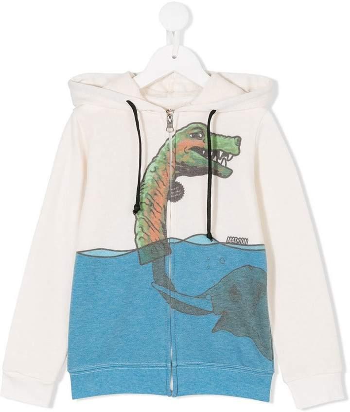 Madson Discount Kids dinosaur print zipped hoodie
