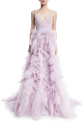 Monique Lhuillier Draped Tulle Ball Gown with Ruffle Skirt, Lilac $9,495 thestylecure.com
