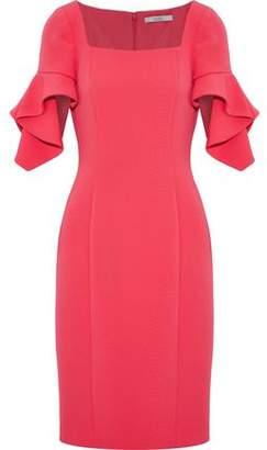 Badgley Mischka Ruffle-Trimmed Cady Dress