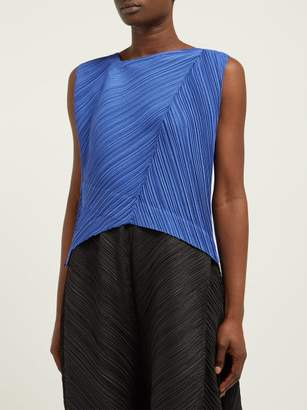 Pleats Please Issey Miyake Asymmetric Neck Tech Pleated Top - Womens - Blue