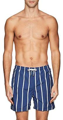 Solid & Striped MEN'S THE CLASSIC STRIPED COTTON-BLEND SWIM TRUNKS - NAVY SIZE M