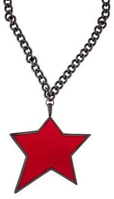 Saint Laurent Enamel Star Pendant Necklace