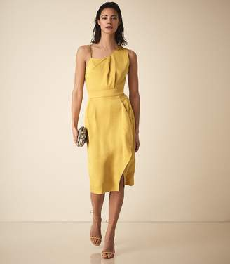 Reiss SARA ONE SHOULDER COCKTAIL DRESS Yellow