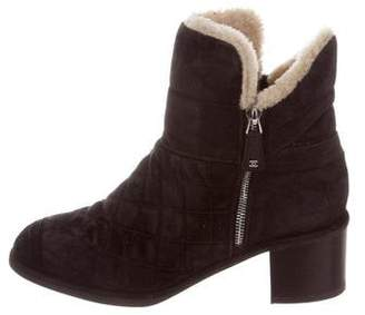 Chanel Quilted Shearling Ankle Boots