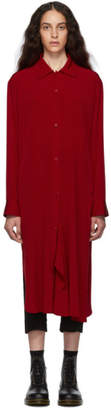 Y's Ys Red Drape Shirt Dress