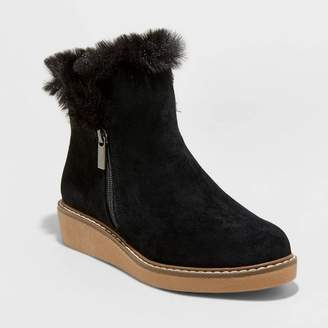 A New Day Women's Sonja Microsuede Faux Fur Sneakers Fashion Boots