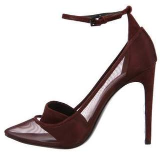 Alexander Wang Mesh Suede-Accented Pumps