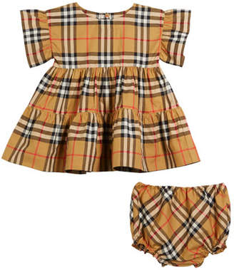 Burberry Alima Ruffle Check Dress w/ Bloomers, Size 3-18 Months