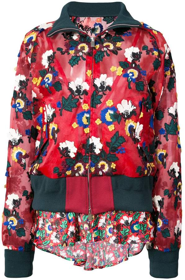 layered floral print bomber jacket