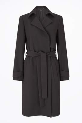 Next Womens Jigsaw Black Modern Crepe Soft Trench Coat