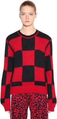 N°21 Checkered Wool Angora Intarsia Sweater