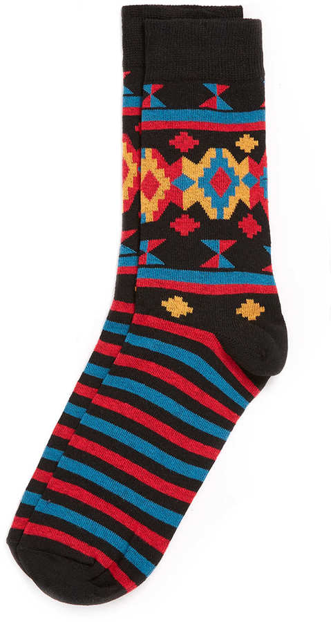 Topman Black Aztec Stripe Socks