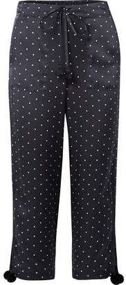 Figue Fiore Polka-dot Silk-satin Wide-leg Pants - Navy