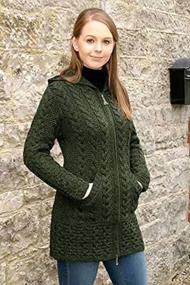 Celtic 100% Irish Merino Wool Ladies Hooded Aran Zip Sweater Coat by West End Knitwear