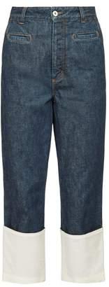 Loewe Fisherman Turn Up Cuff Jeans - Womens - Dark Blue
