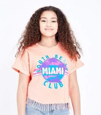 New Look Teens Bright Orange Miami Tassel Trim T-Shirt