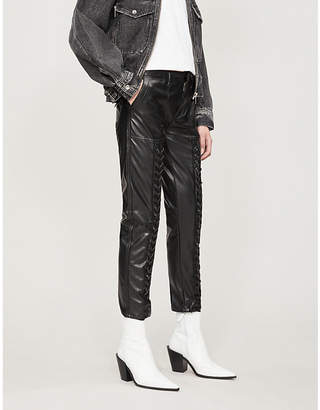 The Kooples Lace-detail faux-leather trousers