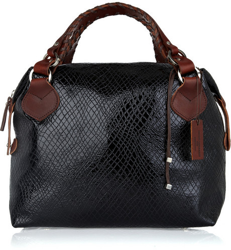 Pauric Sweeney Top-stitched patent-leather tote