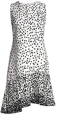 Donna Karan Women's Dot Print Asymmetric Hem Dress