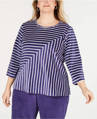 16c4a7b8bfe Alfred Dunner Plus Size Comfortable Situations Velour Striped Top