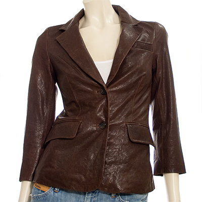 Elizabeth and James Shrunken Leather Blazer in Sepia