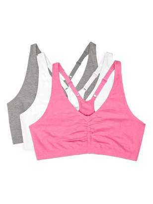 Fruit of the Loom Women's Shirred Front Racerback Sports Bra, Style 90011, 3-Pack